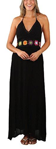 Exist Women's Sexy Backless Beach Summer Sundress Crochet Halter Long Maxi Dress (L/XL, Black)