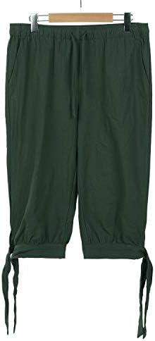 Mens Pirate Shorts Halloween Medieval Renaissance Banded Pants Viking Knicker Colonial Linen Costume
