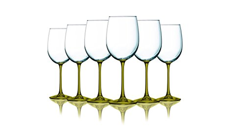 Amber Wine Glasses with Beautiful Colored Stem Accent - 19 oz. set of 6- Additional Vibrant Colors Available ()
