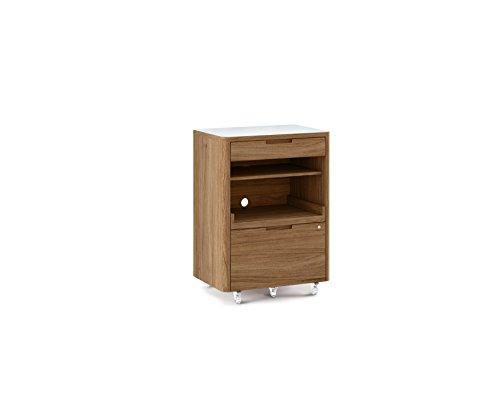 BDI 6717 SW/WL Kronos Mobile Multifunction Cabinet, Satin White/Natural Walnut ()