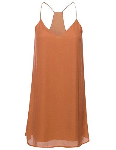 Classic V-Neck Spaghetti Strap Dress Peach Size L