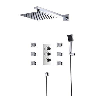 Contemporary Shower System Rain Shower Handshower Included Widespread Thermostatic LED Ceramic Valve Three Handles Five Holes Chrome,