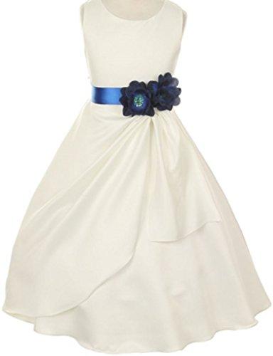 Buy flower girl dresses with midnight blue sash - 1