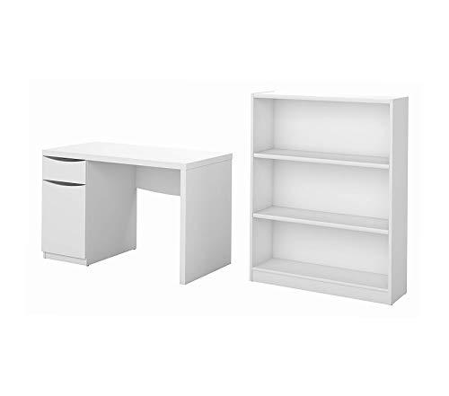 Office Home Furniture Premium Computer Desk and Bookcase Set in Pure White
