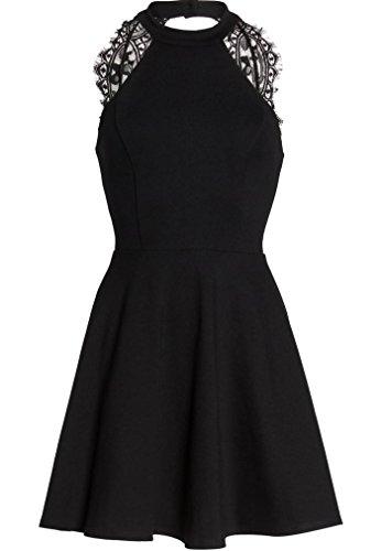 46a0bf5cbfb7 Lyrur Halter Neck Women's Wedding Party A-Line Backless Short Swing Lace  Skater Dress