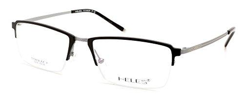 Heles Unisex Fashionable 100% Pure Tianium Half Rim Optical Frame Eyeglasses Black 5318142