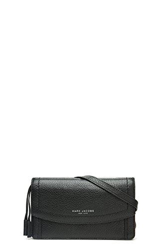 Marc Jacobs Women's Maverick Wallet Leather Strap Black Checkbook Wallet by Marc Jacobs