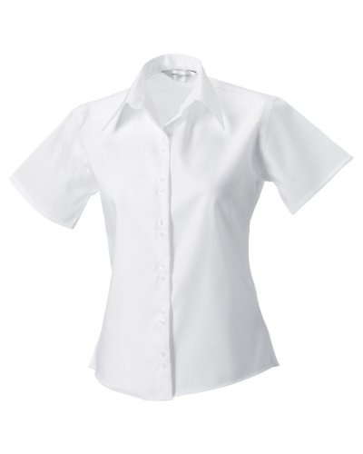 Russell Collection Ladies/Womens Short Sleeve Ultimate Non-Iron Shirt (L) (White)
