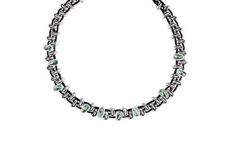 """col1177vrdmtl0u-Collier court Uno de 50""""Sweet Danger pour femme avec deux rangs en cuir et perles bañadas en argent avec cristaux de swarovski® elements en vert."""