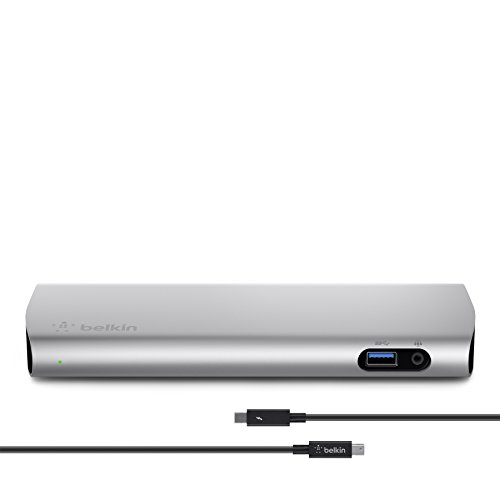 Belkin Gigabit Usb - Belkin Thunderbolt 2 Express HD Dock with 1-Meter Thunderbolt Data Transfer Cable, Mac and PC Compatible (F4U085tt)