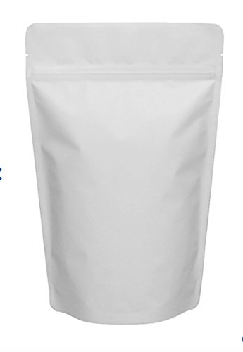 "Matte White 5"" X 7 ¾"" Stand Up Airtight Smell Proof Zipper Pouch Bags for Herb Coffee Powder Medicine Multipurpose Storage 4 oz - Pouch White"