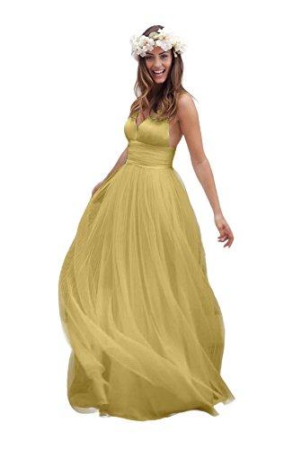 Ruched Open Back Dress (Irenwedding Women's Spaghetti Ruched Empire Waist Open Back Beach Wedding Dress Butter Yellow US12)