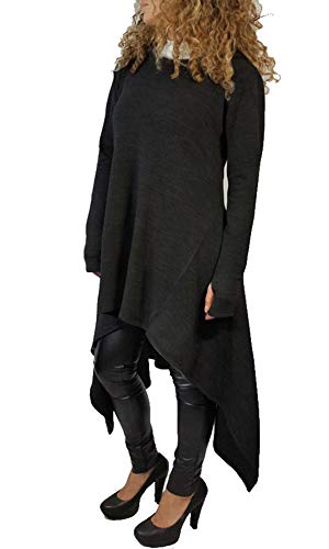 Womens Irregular Hem Loose Fitting Tops Long Sleeve Hooded Sweater Tunic Dress Black US 12