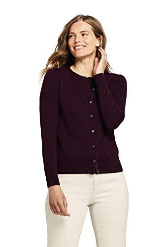 Lands' End Women's Supima Cotton Cardigan Sweater Small Black Cherry Sprinkle Heather (Gauges Sprinkle)