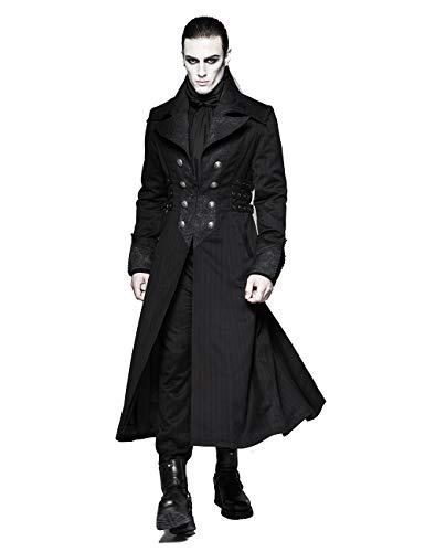 Punk Rave Men's Black Gothic Gentleman Steampunk Arctic Wolf Collar Long Coat XXL