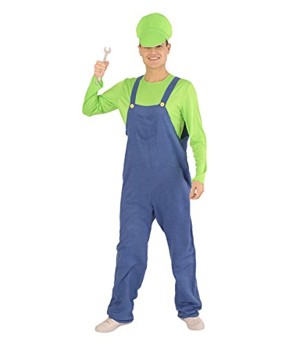 Halloween Party Online Men's Luigi's Plumber Costume, Green Medium