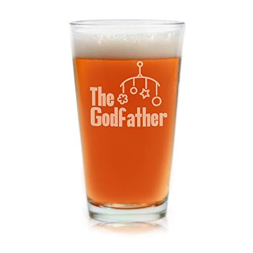 Movies On Glass - Premium Etched The Godfather Baby Gift Godparents Announcement 16 oz. Pint Glass Cool Present Idea for Godfather and Couples Baptism or Christening matches Godmother Glass Set