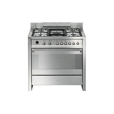 "Price comparison product image Smeg A1PXU 36"" Freestanding Dual Fuel Cavity ""Opera"" Range with 3.2 cu. ft. Capacity 10 Cooking Modes ""Ever-Clean"" Enameled Oven Interior and 5 Gas Burners in Stainless"