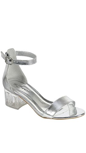 Forever Sui-07 Women's Lucite Clear Heel Buckle Strap Ankle Sandals Dress Heel (8.5, (Lucite Link)