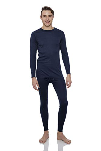 Rocky Thermal Underwear for men Top & Bottom Set Long John Ultra Soft Smooth Knit (Xlarge, Navy) ()