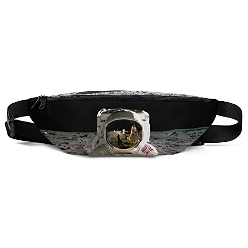 Moon Landing 50th Anniversary Fanny Pack, Astronaut Buzz Aldrin Iconic Space Photo from NASA Black ()