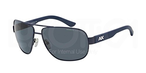 Armani Exchange Men's Metal Man Aviator Sunglasses, Satin Blue Depth/Dark Maritime, 62 - Armani Blue Sunglasses