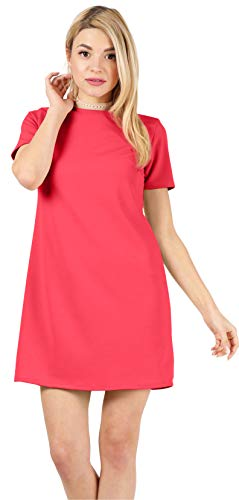 Above The Knee Short Sleeve Straight Basic Plain Cocktail Summer Shift Dresses for Women- Made in U.S.A (Size Large US 6-8, Atomic Coral)