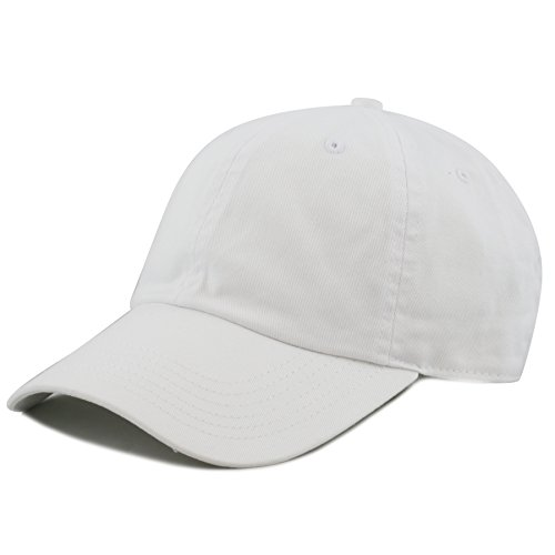 The Hat Depot 300N Washed Cotton Low Profile Baseball Cap (White)