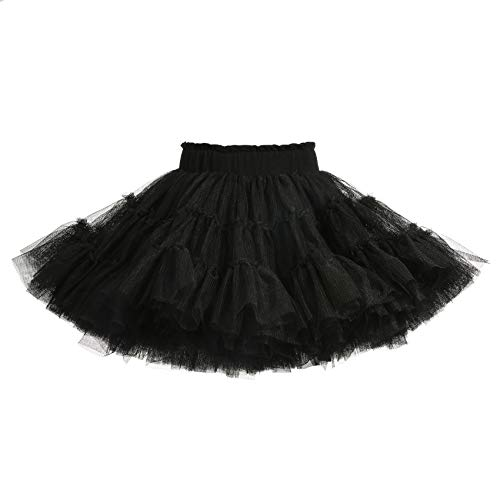 Baby Tutu Skirt Toddler Little Girls'Ballet Dance Tulle Skirt 1-10T Black]()