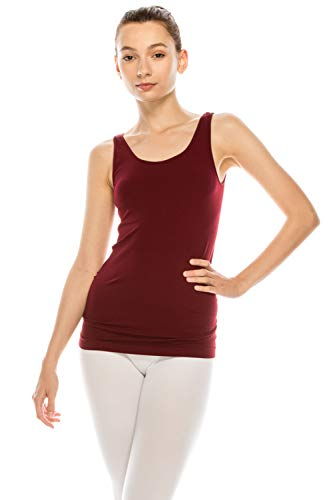 Basic Seamless Long Camisole Tanktop by Shycloset - Soft Stretch Long Spaghetti Strap One Size Made in USA (5178 - Dark Burgundy) ()