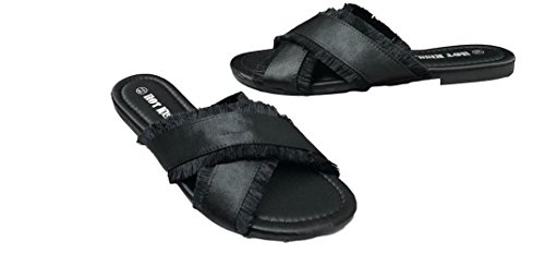 Open-Toe Satin Slides with Frayed Detail by Hot Kiss (8 M US, Black)