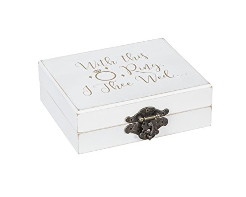 "Cypress Home With This Ring, I Thee Wed Mr. and Mrs. Wooden Ring Holder Decorative Box - 5""W x 6""D x 2""H by Cypress Home"