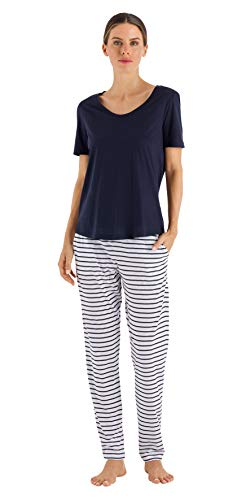 HANRO Women's Laura Short Sleeve Long Pajama Set, Midnight, Large