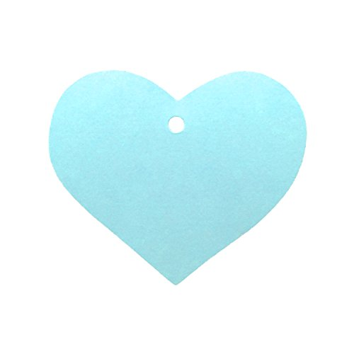 LWR Crafts 100 Hang Tags Heart with Jute Twines 100ft (2 3/8 x 2 3/16, Light Blue)
