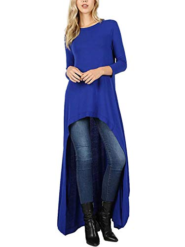 (MixMatchy Women's 3/4 Sleeve High Low Casual Long Maxi Tunic Tops Denim Blue L)