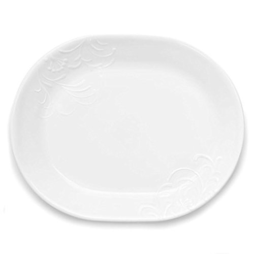 Corelle Boutique Cherish Serving Platter and Square Round Cherish Serving Bowl 2 Piece set