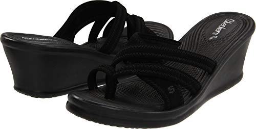 Skechers Cali Women's Rumblers-Beautiful People Wedge Sandal,Black,9 M US
