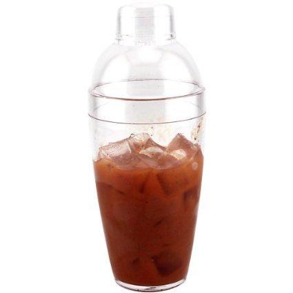 1 X Plastic Cocktail Shaker, 14oz Clear 3 Piece set