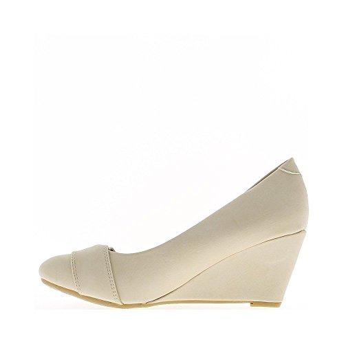 Mujer Rosa compensada con pequeñas 6,5 cm redondo termina con zapatos de diamante de imitación
