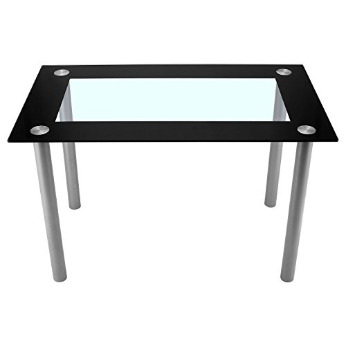 Fashine Black Modern Glass Dining Set Table for Kitchen Breakfast Furniture by Fashine
