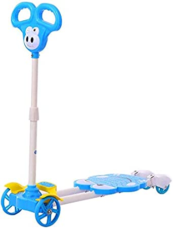 Oanzryybz Car Vespa niños de Tijeras, 4 Ruedas Plegable Kick Pedal Ancha, 3 Engranaje Ajustable, no eléctrico (Color : Blue)