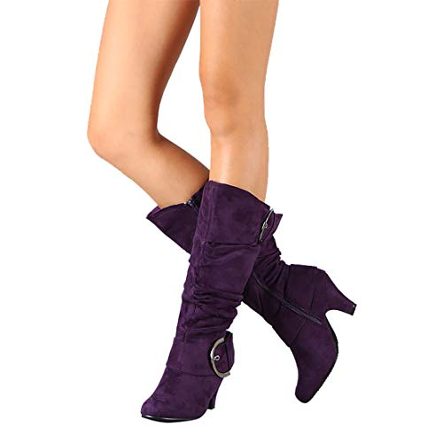 Purple Mid Heel - MORNISN Women's Mid Calf Boots Kitten Heels Knee high Zipper Buckle Slouchy Shoes Winter Boots