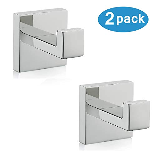 Nolimas Bath Towel Hook SUS 304 Stainless Steel Square Clothes Towel Coat Robe Hook Cabinet Closet Door Sponges Hanger for Bath Kitchen Garage Heavy Duty Wall Mounted, Chrome Polished Finish,2Pack