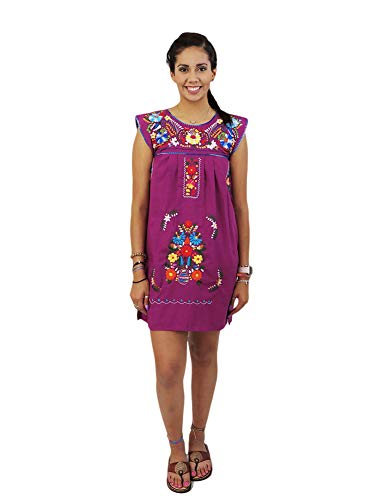 Mexican Dress Sierra Hand Embroidery (Small, Electric ()