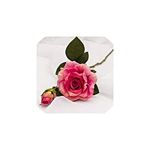 Fashion-LN Wedding Decoration Artificial Flowers Vivid Real Touch Roses Artificial Silk Flower 2 Heads/Bouquet,Rose red 61