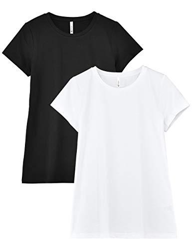 (Zengjo Women's 2-Pack Petite Slub T Shirt, Basic Crewneck Cotton Modal Slub Knit Tee Short-Sleeve for Women (XXL/US 18,Black/White))