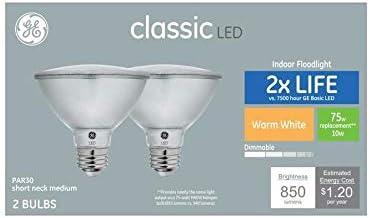 GE Classic 2-Pack 75 W Equivalent Dimmable Warm White Par30 Shortneck LED Light Fixture Light Bulbs