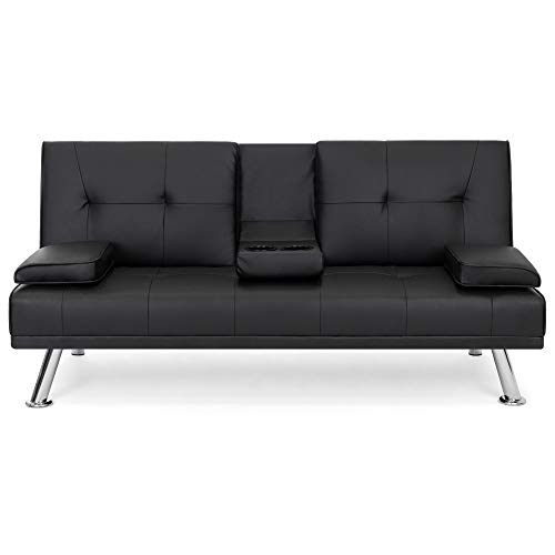 (Best Choice Products Modern Faux Leather Convertible Futon Sofa Bed Recliner Couch w/Metal Legs, 2 Cup Holders - Black)