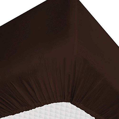 Eyelet Home Decor Chocolate, King Size 15 Inch Deep Pocket 1PC Fitted Sheet Only, Egyptian Cotton 800 Thread Count