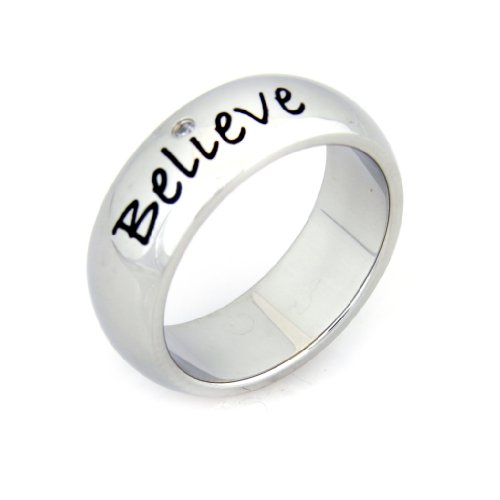 Believe Cubic Zirconia Ring - Stainless Steel Poesy Ring - Inspirational Ring ()